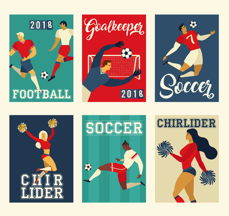 Football soccer players and cheerleaders set posters of characters vector illustration. Illustration