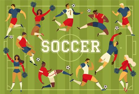 Football soccer players cheerleaders fans on soccer field vector illustration. Illustration