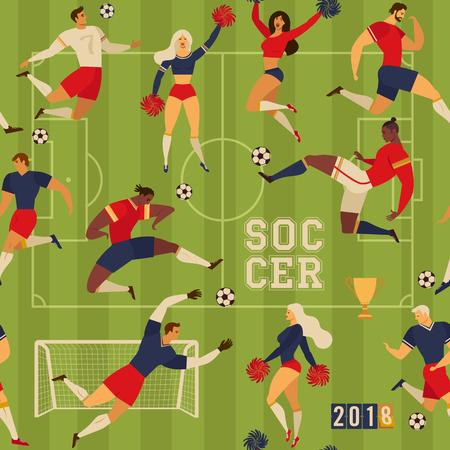 Football soccer players and cheerleaders. Seamless pattern illustration. Çizim