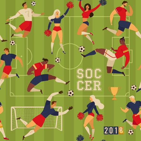 Football soccer players and cheerleaders. Seamless pattern illustration. Illustration