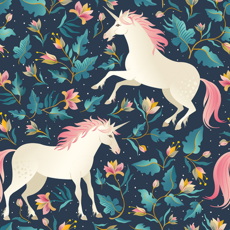 Seamless pattern with beautiful unicorns. Vector magic background for kids design
