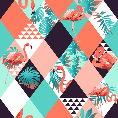 Exotic beach trendy seamless pattern, patchwork. Jungle pink flamingos Wallpaper print background mosaic Vectores
