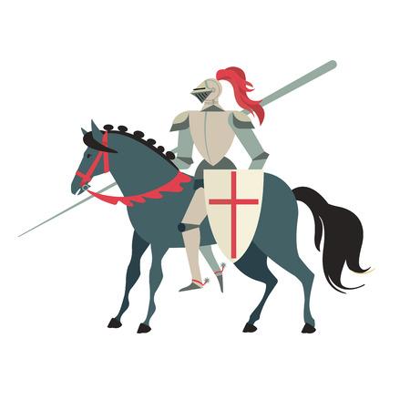Gepantserde middeleeuwse ridder die op een paard met speer en schild berijdt. Platte vectorillustratie geïsoleerd op een witte achtergrond
