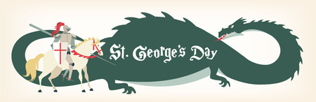 St. George s Day card with knight and dragon. Vector illustration Çizim
