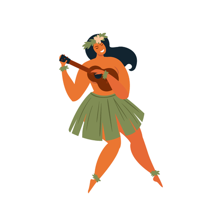 Hawaiian hula dancer young pretty woman Vector illustration.