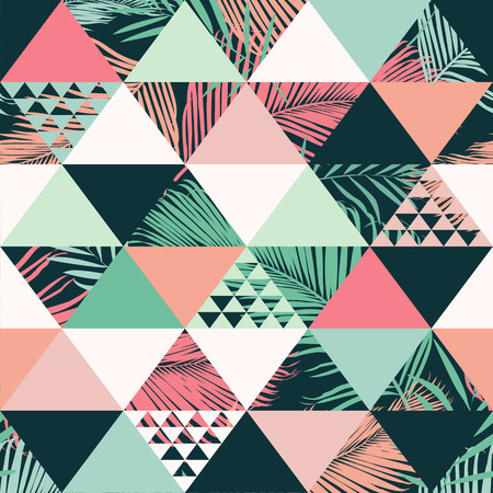 Abstract trendy seamless pattern illustrated floral vector tropical leaves. Wallpaper print background. Stockfoto - 99226608