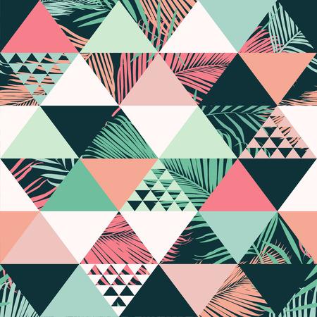 Resumen de patrones sin fisuras moda ilustrado vector floral tropical hojas. Fondo de pantalla de impresión. Foto de archivo - 99226608