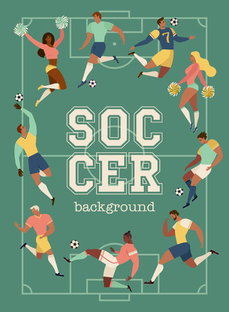 Football soccer players and cheerleaders set posters of characters vector illustration