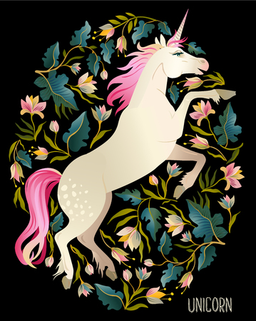 Beautiful unicorn. Vector magic print background for t-shirt design. 스톡 콘텐츠 - 99322010