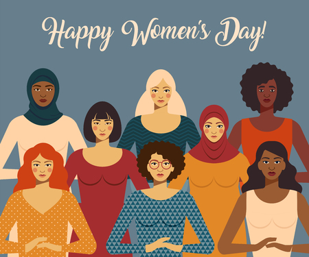 International Women s Day. Female diverse faces of different ethnicity. Vector template with for card poster, flyer and other users. Çizim