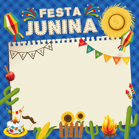 Festa Junina Brazil June Festival. Retro Poster of Folklore Holiday. Cage Background. Vector Illustration.