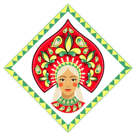 Russian beauty in kokoshnik. Vector illustration. 向量圖像