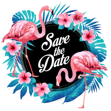 Blue summer tropical palm leaves exotic flamingo and hibiscus flowers. Vector floral background.