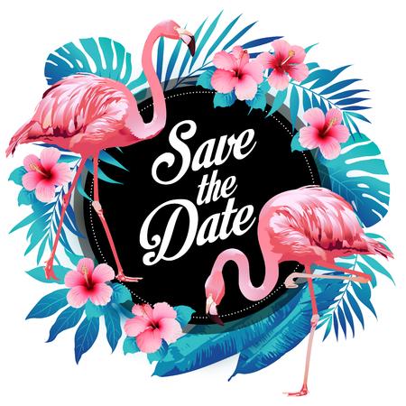 Le palmier tropical d'été bleu laisse des fleurs exotiques de flamants roses et d'hibiscus. Fond floral de vecteur.