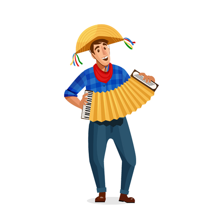 Accordion player Festa Junina Brazil June Festival. Vector Illustration.