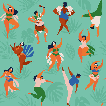 Brazil carnival. Vector seamless pattern with flat characters. Brazilian samba dancers of the carnival in Rio de Janeiro. Girls and boys in festive suits. Vector Illustration. Standard-Bild - 100642760