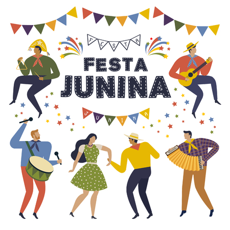 Festa Junina Brazil June Festival. Folklore Holiday Characters Vector Illustration.