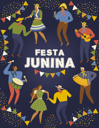 Festa Junina Brazil June Festival. Vector templates. Design element for card, poster, banner, and other use.
