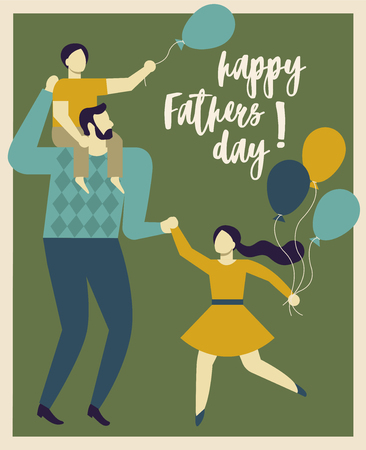 Inscription Happy Father s Day. Dad holding his son and daughter. Vector illustration of a flat design. Vetores