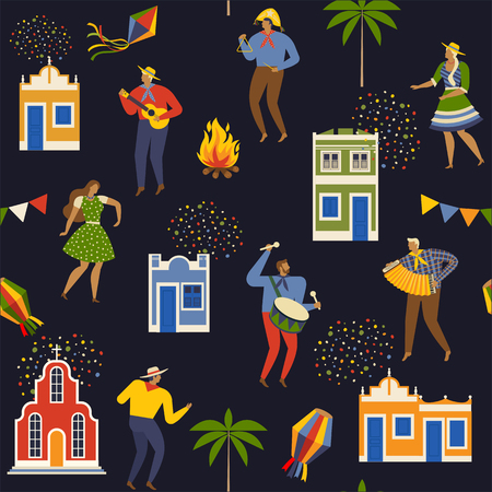 Festa Junina Brazil June Festival. Vector Seamless pattern. Banque d'images - 101237125