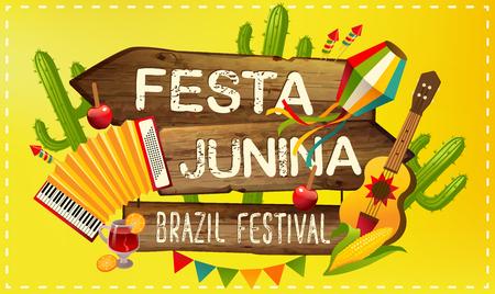 Festa Junina illustration traditional Brazil June festival party. Vector illustration. Latin American holiday. 일러스트