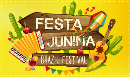 Festa Junina illustration traditional Brazil June festival party. Vector illustration. Latin American holiday.