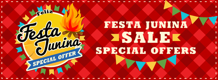Festa junina sale poster. Beautiful vector background with fireworks and with a garland from flags and confetti for advertising. Vector illustration.