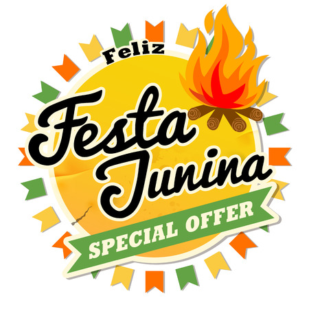 Latin America Traditional Festa Junina, the June party of Brazil. Retro style seamless design with symbolism of the holiday for Invitation card, Banner. Banque d'images - 101795689