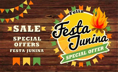 Festa Junina illustration traditional. Brazil June festival party. Vector illustration. Latin American holiday. Stock Illustratie
