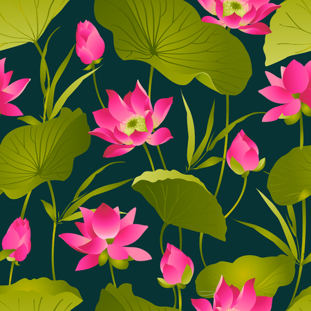 Lotus flowers and leaves. Watercolor. Vector seamless pattern.