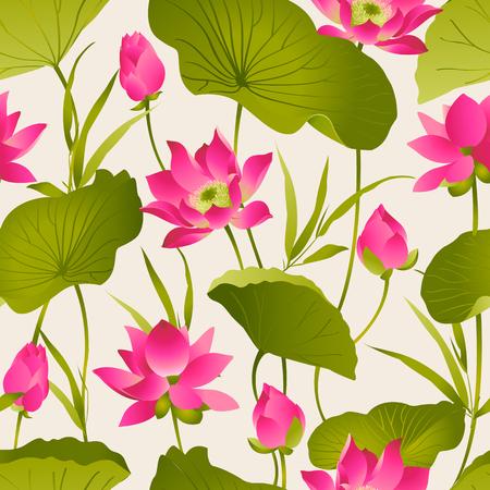 Lotus flowers and leaves.