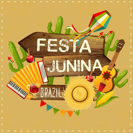 Festa Junina illustration traditional Brazil June festival party. Vector illustration. Latin American holiday. Stock Illustratie