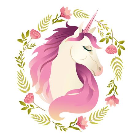 Unicorn head in wreath of flowers. Watercolor illustration