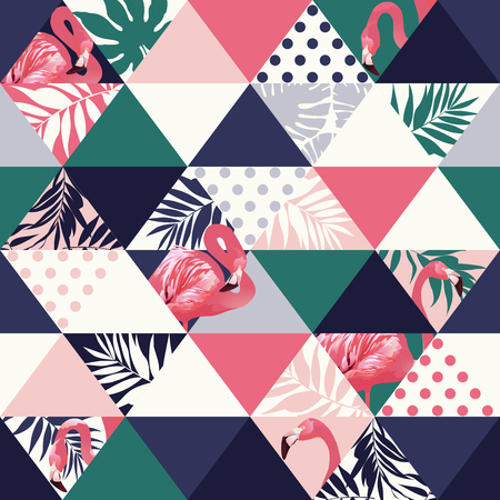 Exotic beach trendy seamless pattern, patchwork illustrated floral vector tropical banana leaves. Jungle pink flamingos Wallpaper print background mosaic
