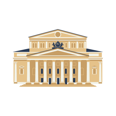 Moscow City Symbol. Bolshoy Theatre isolated on white background. Travel icon vector flat collection Illustration
