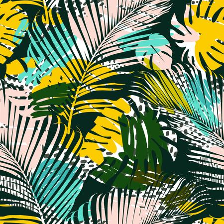 Patrón transparente tribal con hojas abstractas Mano dibujar textura. Plantilla de vector.