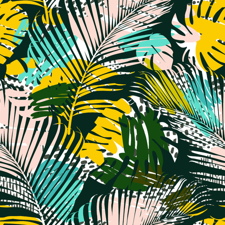 Tribal seamless pattern with abstract leaves Hand draw texture. Vector template.