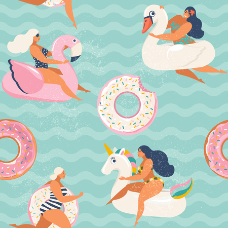 Flamingo, unicorn, swan and sweet donut inflatable swimming pool floats Vector seamless pattern. Иллюстрация