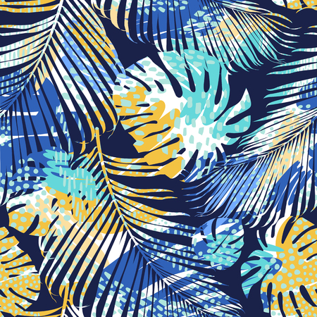 Tribal seamless pattern with abstract leaves. Hand draw. Vector template. Ilustración de vector