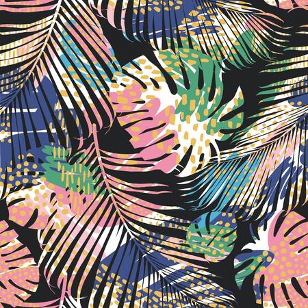Modèle sans couture tribal avec des feuilles abstraites. Tirage à la main. Modèle vectoriel. Banque d'images - 102890293