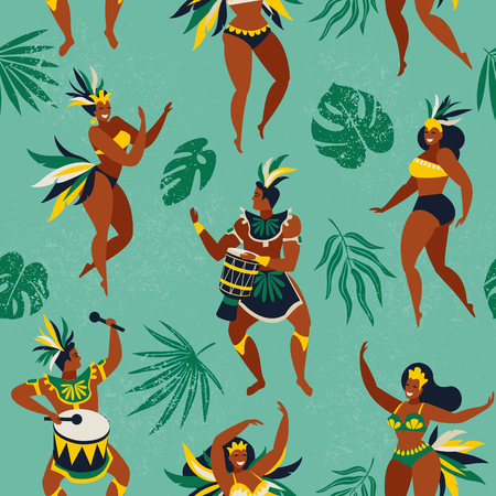 Brazil carnival. Vector seamless pattern with flat characters. Brazilian samba dancers of the carnival in Rio de Janeiro. Girls and boys in festive suits. Vector Illustration. Standard-Bild - 103740650