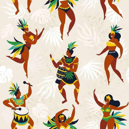 Brazil carnival. Vector seamless pattern with flat characters. Brazilian samba dancers of the carnival in Rio de Janeiro. Girls and boys in festive suits. Vector Illustration.