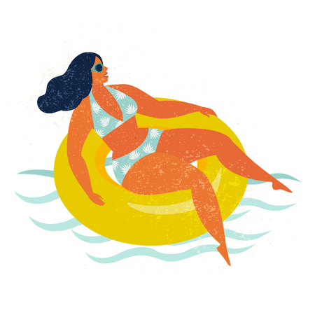 Girl on inflatable swimming pool float Vector illustration.