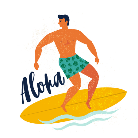 Aloha poster surfer on surfboard catching waves in ocean. Beach and surfings design for poster, t-shirt or cards. Summertime illustration. Banque d'images - 104184359