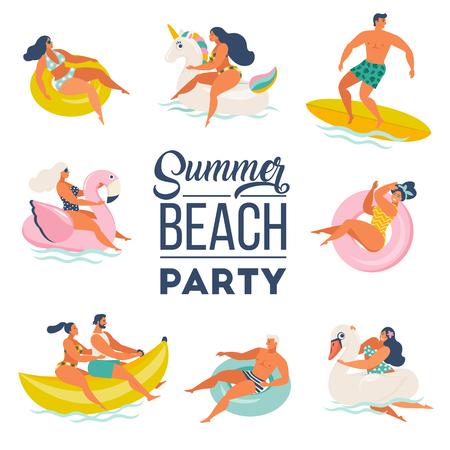 Juego de doodle de fiesta en la piscina. Gente feliz. Actividades al aire libre de verano y decoración festiva. Ilustración de vector aislado sobre fondo blanco.