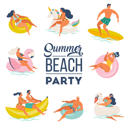 Pool Party doodle set. Happy people. Summer outdoor activities and festive decoration. Vector illustration isolated on white background.