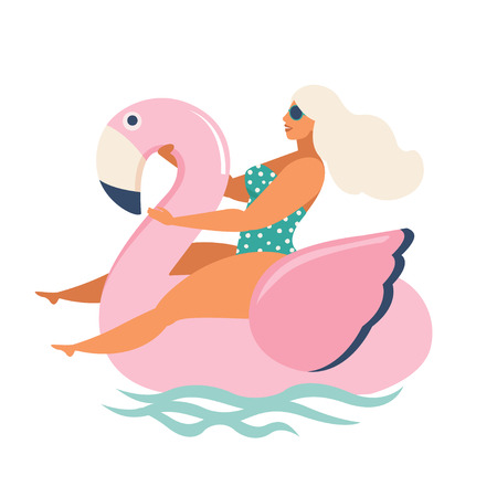 girl riding swan inflatable swimming pool floats. Vector illustration. Banque d'images - 104263457