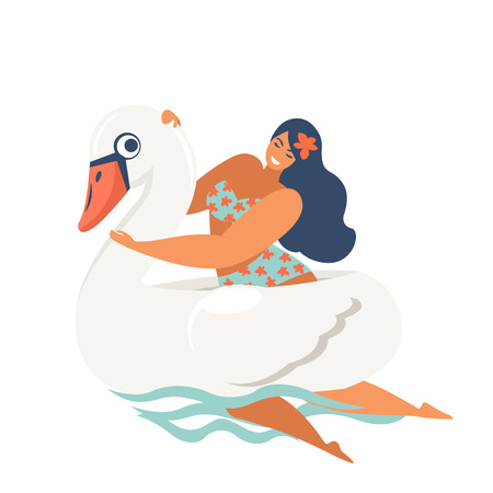 girl riding swan inflatable swimming pool floats. Vector illustration.