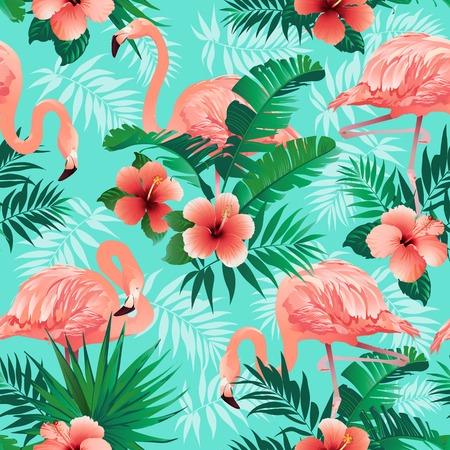 핑크 플라밍고, 이국적인 새, 열대 야자 잎, 나무, 정글 잎 원활한 벡터 꽃 패턴 배경.