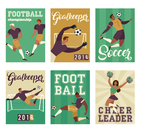 Football soccer player set posters of characters. Vector illustration.